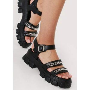 ✨ NEW | 8 | 9 | Faux Leather Chain Sandals Shoes
